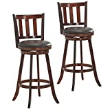 COSTWAY Bar Stools Set of 2, Counter Height Dining Chair, Fabric Upholstered 360 Degree Swivel, PVC Cushioned Seat, Perfect for Dining and Living Room (Height 29.5''-Set of 2)