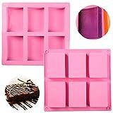 2PCS Silikon Seifenformen,JPYH 6 Mulden DIY Seife Formen,für Kuchen, Kekse, Schokolade, Eiswürfel,...