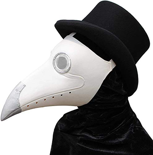 PartyCostume - Weiße Pest Arzt Maske - Lange Nase Vogel Schnabel Steampunk Halloween Kostüm Requisiten Maske