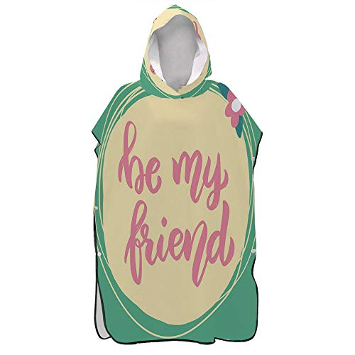AmaUncle Best Friend, Be My Friend Floral Circular Beach Surf Poncho,Hooded Towel Microfiber Quick-Drying Bathrobe,Travel Beach Bath Towel for Adults No4988