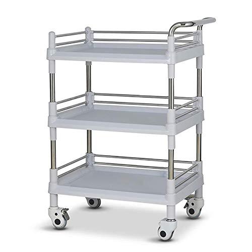 KANJJ-YU Carrito con ruedas con ruedas de 3 niveles para salón de belleza, carrito portátil con carrito y freno universales, carro de plástico ABS resistente sobre ruedas, gris (tamaño: L)