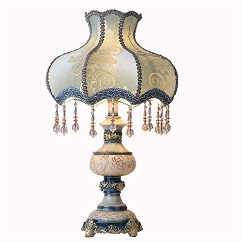 nakw88 Tela de Sombra Europea de Gama Alta lámpara de Borla Azul lámpara de Noche de Resina Verde Claro lámpara de iluminación de la lámpara del Cuerpo Lámpara de Mesa