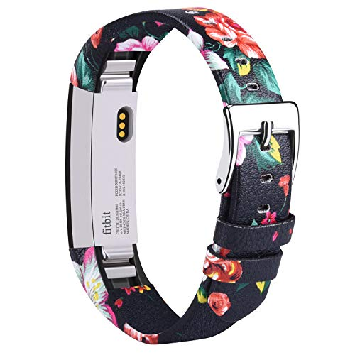 Vancle für Fitbit Alta Alta HR Armband, Leder Uhrenarmband Anpassbare Bequemen Fitbit Alta Ersatz armbänder mit Edelstahl Schnalle (Kein Tracker) (Red Flower)