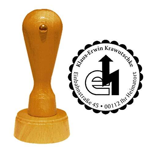 Stempel Adressstempel « ELEKTRIKER » Durchmesser ca. Ø 40 mm - mit persönlicher Adresse, Motiv und Zierrand - Zunft Zunftzeichen Beruf Elektroinstallateur