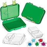 My Vesperbox – Bento Box Kinder - Lunchbox mit 4+2 Fächern - extrem robust – Brotdose – Brotbox ideal für Kindergarten und Schule… (Grün)