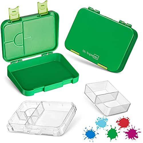My Vesperbox Bento Box Niños - Fiambrera con 4 + 2 compartimentos - Extremadamente resistente - Fiambrera - Fiambrera ideal para la guardería y la escuela (verde)