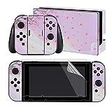 eXtremeRate - Set completo di decalcomanie per Nintendo Switch/NS con 2 pellicole proteggi schermo (console e Joy-con & Dock & Grip) Sakura