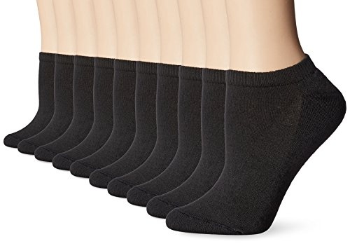 Hanes Women's Shoe Size: 5-9 EcoSmart Comfort Toe Seam No Show Socks, 10-Pair Pack, Black