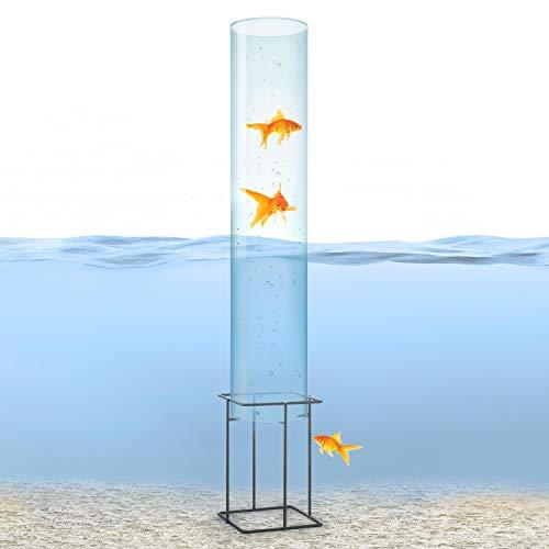 blumfeldt Skydive - Fischturm, Fischsäule, Fisch Dome, Goldfisch-Rohr, Fische, Teich-Gestaltung, Teich-Deko, Acrylglas, Wandstärke: 3 mm, Ø 20 cm, witterungsbeständig, transparent, 127 cm