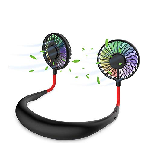 TORRYZA Hands Free Neck Fan Portable Sports USB Fan Rechargeable Aromatherapy LED Personal Wearable Battery Operated 3 Speed Mini Cooling Head for Home Kitchen Outdoor 360 Degree Rotation - Black