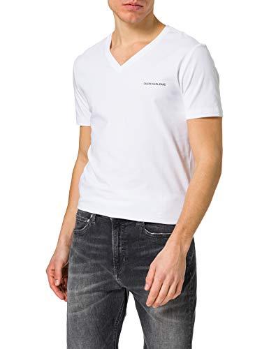 Calvin Klein Jeans Micro CK Slim Stretch V Neck tee Camiseta, Blanco Brillante, L para Hombre