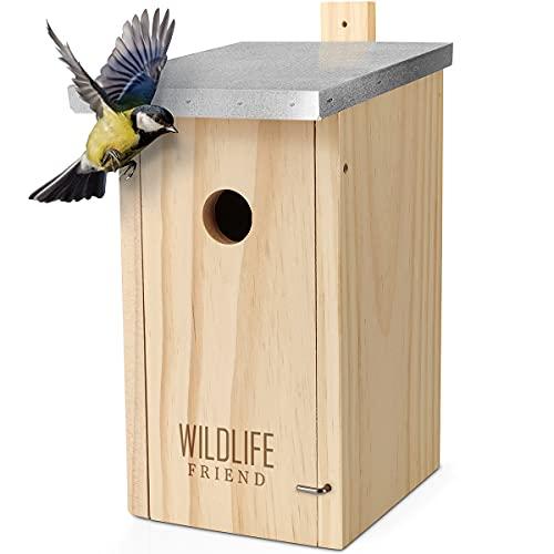 WILDLIFE FRIEND I Nistkasten mit Metalldach nach NABU aus Massivholz für Kohlmeisen & Co. - wetterfest, unbehandelt, Meisenkasten, Vogelhaus für Meisen - Nisthilfe mit 32 mm Einflugloch