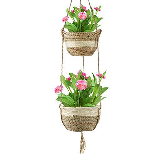 KOROSTRO Hängende Pflanzenkörbe Drinnen Draußen, 2er Set Natürliche Seegras Blumentöpfe, Handgemachte Indoor Blumentopf Halter, Wandbehang Pflanzen Halter Blumentöpfe für Außen Decken Wanddekoration