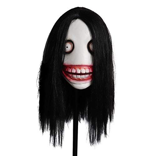 jinrio Jeff The Killer Mask Creepy Halloween Scary Evil Mask Headgear Props Cosplay Costume for Kid and Adult