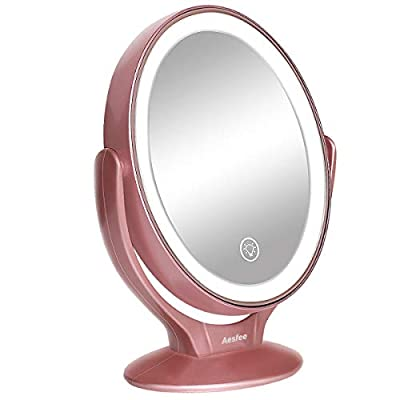 LED Lighted Makeup Vanity Mirror Rechargeable,1x/7x Magnification Double Sided 360 Degree Swivel Magnifying Mirror with Dimmable Touch Screen, Portable Tabletop Illuminated Mirrors (Rose Gold)