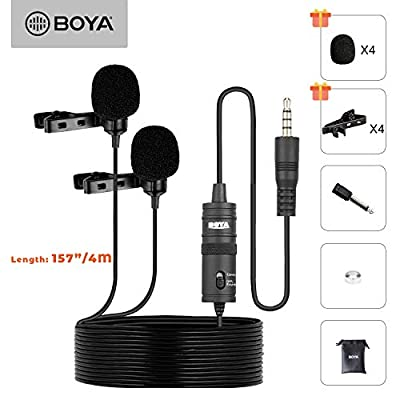 Professional Premiun Dual Lavalier Microphone, BOYA Lapel Clip-on Omnidirectional Condenser Mic for IOS iphone, DSLR, Guitar, Android, Smartphone, Recording YouTube, Interview, Podcast, Blog, Vlog