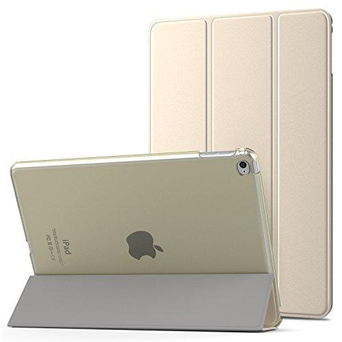 MoKo Funda para iPad Air 2 - Ultra Slim Función de Soporte Protectora Plegable Smart Cover Trasera Transparente Durable para Apple iPad Air 2 9.7 Pulgadas, Oro (Auto Sueño/Estela)