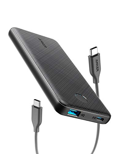 Anker Powerbank, PowerCore Slim 10000 PD kompakte 10000mAh mit USB-C Power Delivery (18W) für iPhone 8 / 8+ / X / XS / XR / XS Max, Samsung Galaxy S10, Pixel 3 / 3XL, iPad Pro 2018