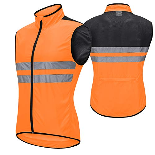 Chalecos Ciclismo Hombre,Transpirable Chaleco para Ciclismo,Ligera Ultrafina Chaleco Bicicleta,Reflectante Chaleco Deportivo,Camiseta de Ciclismo Sin Mangas Chaleco de Bicicl(Size:L,Color:Naranja)