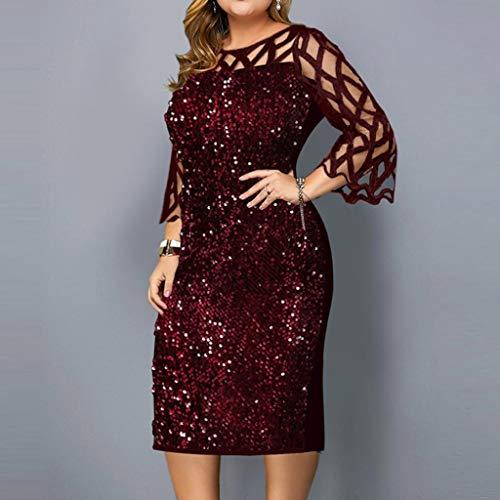SPNEC Vestido de Banquete con Lentejuelas con Lentejuelas, Vestido de Mujer, Vestido de Verano Vestido Ajustado Burdeos (Size : XXXX-Large)