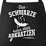 MoonWorks® Grill-Schürze für Männer mit Spruch Das Schwarze kann Man abkratzen Spruch lustig Grillen Baumwoll-Schürze Küchenschürze schwarz Unisize