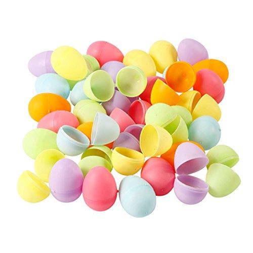 BODA Creative 48 Mini Kunststoff-Eier zum Befüllen und Basteln, Pastellfarben, farblich Sortiert
