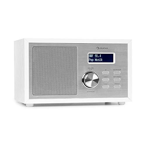 auna Ambient - Radio Dab+/FM, Bluetooth 5.0, A2DP, Entrada AUX, Conexión Auriculares, Capacidad 40 emisoras, Temporizador, Despertador, Indicador Fecha/Hora, Pantalla LCD, Estética de Madera, Blanco