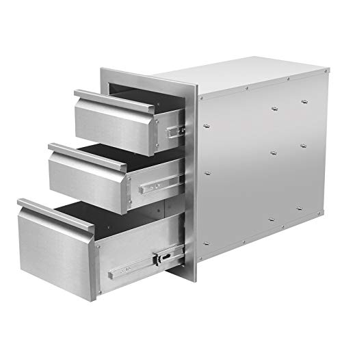 JIE JIN Outdoor Kitchen Drawers Stainless Steel, Triple BBQ Drawers Flush Mount for Outdoor Kitchen or BBQ Island (14 x 20 x 23)
