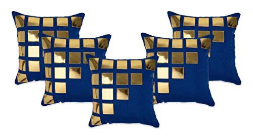NEHA HANDICRAFTS Tejido De Yute, 5 Piezas, Decorativo, Hecho A Mano, De Cuero Dorado, Diseño De Caja Cuadrada, Fundas De Cojín para Sofá, 16'X 16', Azul