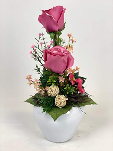 Ziegler Blumengesteck Rosengesteck Gesteck künstlich Kunstblumen Kunst Blume Dekoblume Seidenblume unecht Tischgesteck Tischdeko Rosen Rose rosa pink 111 F71