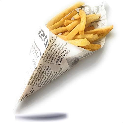 Kerafactum® - 50 Stück fettdichte Pommestüte Pommes Tüten Kartoffelstäbchen für Fish and Chips geeignet French Fries Motiv Daily News Zeitung Tüte Zeitungstüte Größe 25 x 18 cm
