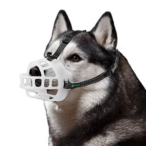 ILEPARK Bozal para Perros - Bozal de Silicona Suave para Perros Pequeños, Medianos y Grandes - Bozal de Cesta Respirable Que Brilla en la Oscuridad, Talla 3
