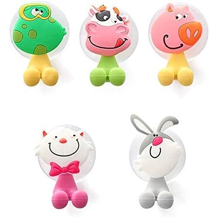 XLKJ Set di 5 Portaspazzolino a Ventosa,Animali Cartoon Portaspazzolino con Ventosa a Muro per Bambini