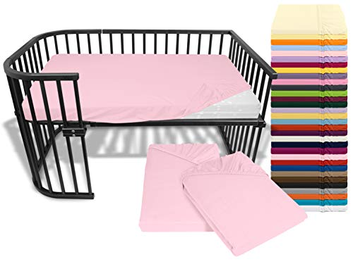 npluseins Doppelpack Bettlaken für Kinder- und Babybettmatratzen 175.188, ca. 60 x 120 cm, zartrosa