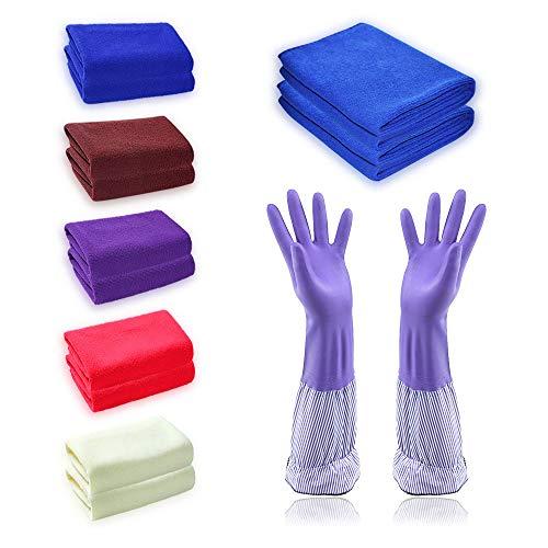 LZYMSZ 12 PACK Microvezel Reinigingsdoeken, Super Absorberende Stofdoeken Drogen Veeg Doek Met Siliconen Handschoenen voor Huis, Keuken Auto Glas Elke Reiniging Job