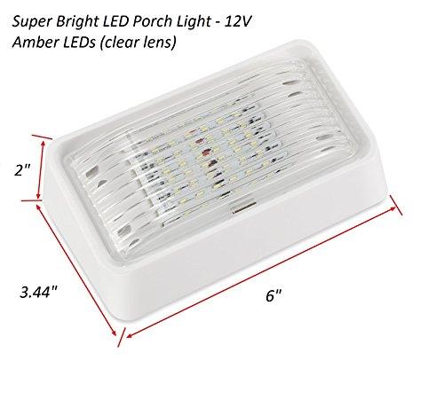 LED Porch Light Interior Light 12V - Waterproof - RV, Truck, Trailer, Automobile or Utility LED Lamp 300 Lumens - Amber LED