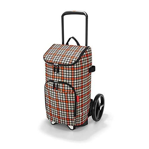 reisenthel citycruiser Rack + citycruiser Bag Set, moderner, robuster Einkaufstrolley aus Aluminium, leichtlaufende Rollen - große Einkaufstasche, 34x60x24 cm, 45 l, Glencheck red (3068)