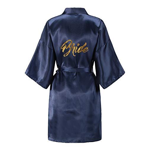 EPLAZA Damen-Bademantel mit goldenem Glitzer, Einheitsgröße, für Braut und Brautjungfer - Blau - Einheitsgröße