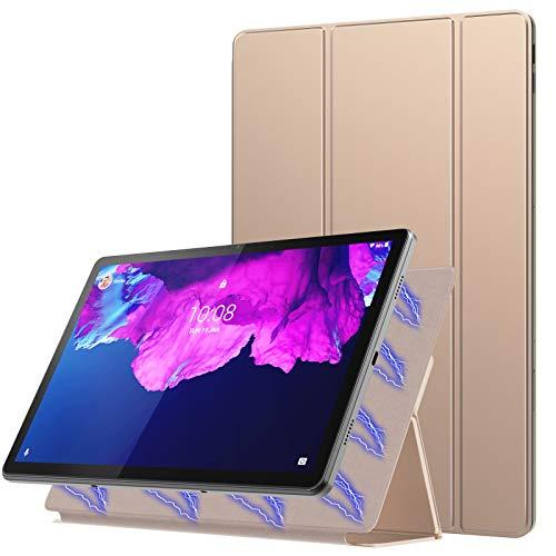 MoKo Funda Compatible con Lenovo Tab P11 11-Inch 2020 Model (TB-J606F/J606X), Estuche Protector Delgado y Liviano del Soporte con Fuerte Adsorción Magnética con Auto Sueño/Estela, Oro Rosa