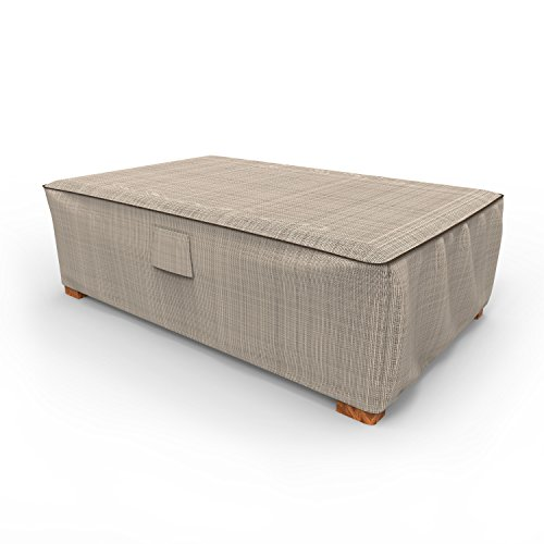 Budge P5A36PM1 English Garden Patio Ottoman/Coffee Table Cover Heavy Duty and Waterproof, Large, Two-Tone Tan
