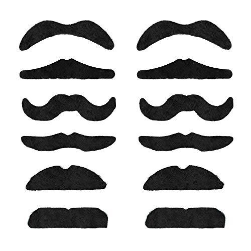 TRIXES Schnurbart Kleben - Schnauzer Zum Ankleben - Set mit 12 Verschiedenen Selbstklebende Falsche Schnurrbärte für Karneval - Perücken & Haarteile für Erwachsene
