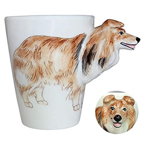 WEYFLY Taza de café 3D para Mascotas, diseño de Animales, Taza de té Personalizada, Creativa, Pintada a Mano, Taza de Perro 3D, Regalo para los Amantes de los niños y Amigos