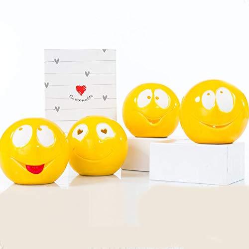 Ingrosso e Risparmio Cuorematto - Pequeña lámpara de cerámica con forma de emoticono, surtida en 4 modelos, bombonera comunión, cumpleaños, con caja regalo incluida