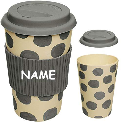 alles-meine.de GmbH Coffee to Go Becher - Bambus - inkl. Name - Punkte - grau - BPA frei - mit Deckel - 400 ml - auslaufsicher - Silikon Griffring - verschließbar - Mehrweg Kaffe..