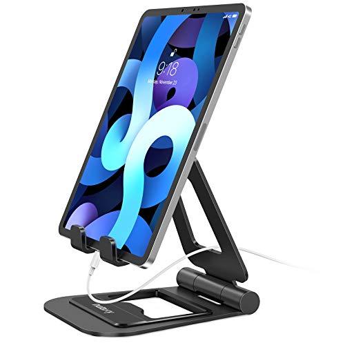 """Nulaxy Supporto Tablet, Alluminio Supporto per iPad Pieghevole e Regolabile, Porta Cellulare da Tavolo per iPad PRO 12.9, 10.5, 9.7, Air Mini 2 3 4, iPhone, Switch, Samsung Tab (4.7""""-13"""")- Nero"""