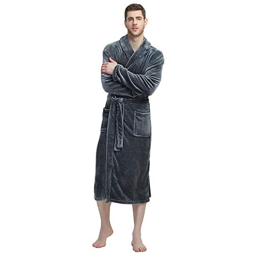 U2SKIIN Mens Fleece Robe Plush Collar Shawl Bathrobe(Grey,L/XL)