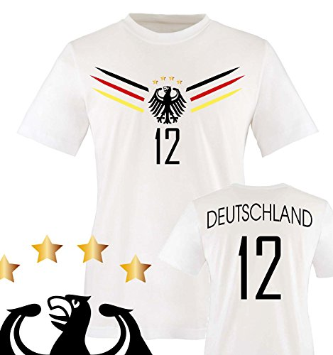 Comedy Shirts - Deutschland WM 2014-12 - Kinder T-Shirt - Weiss/Schwarz-Rot-Gelb Gr. 86-92