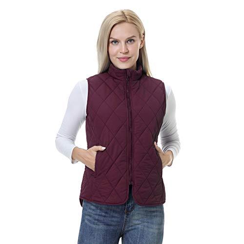 BEROY Damen Weste mit Stehkragen Ärmellos Steppweste Reißverschluss Winter Warm Jacke Ultraleicht Outdoor Rot L