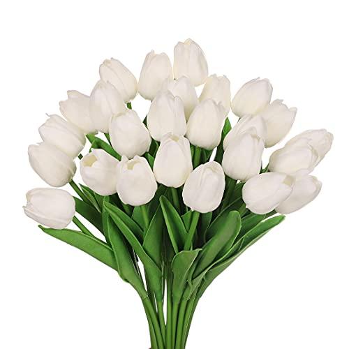 huaao 24pcs Flores Tulipanes Artificiales de látex, Plantas Artificiales Falsos Tacto Realista arreglos Florales decoración para hogar, casa, Oficina, Sala, Banquete Boda Nupcial, Fiestas (Blanco)