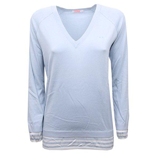 SUN 68 B7964 Maglione Donna Cotone Azzurro Scollo a v Sweater Cotton Woman [L]